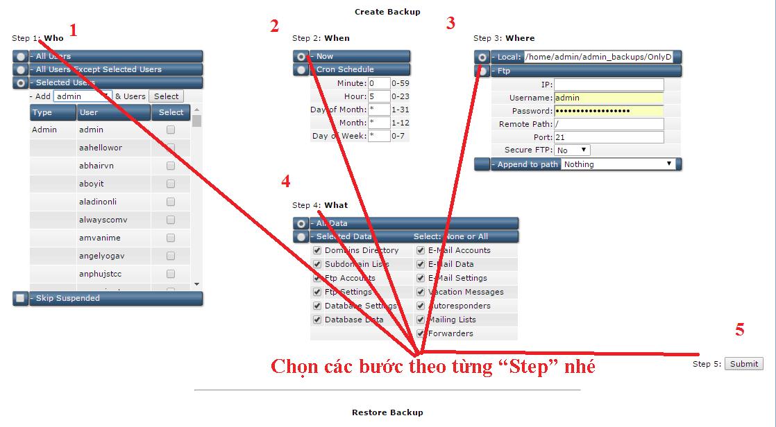 Admin Backup Transfer