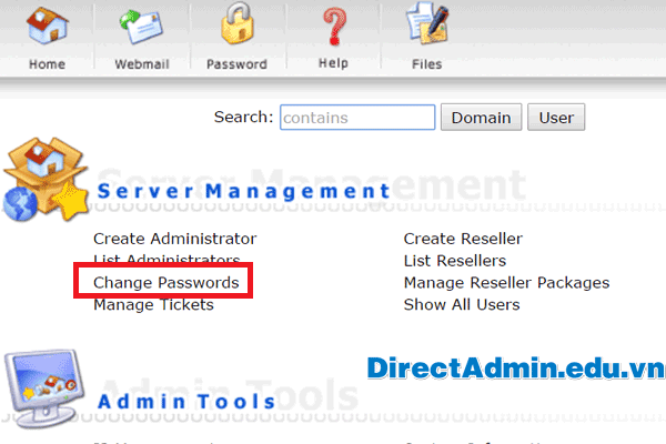 Directadmin: Click Change Passwords