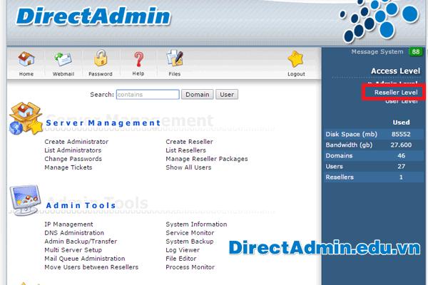 Directadmin Edit User Message