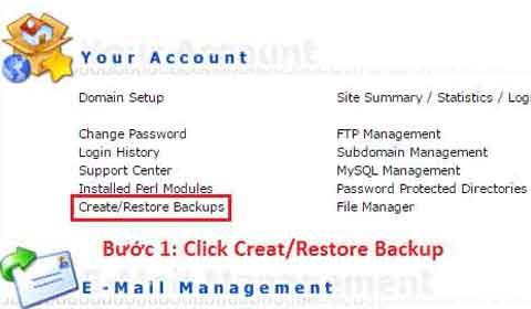Backup data trong DirectAdmin (Quá trình sao lưu dữ liệu)