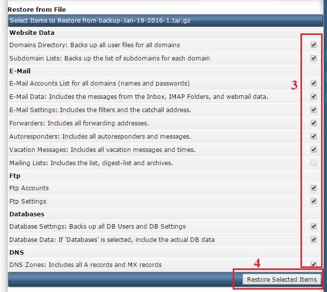 Hướng dẫn Restore cả tài khoản Hosting. Restore hosting, Restore dữ liệu, khôi phục dữ liệu, Create Restore Backup, Restore from File