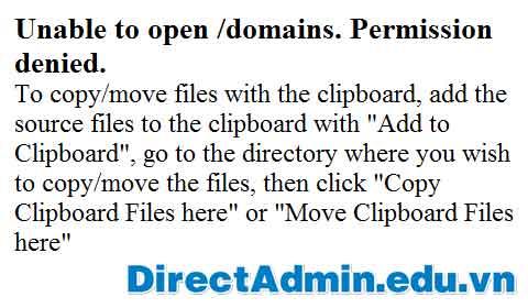 Unable to open /domains. Permission denied