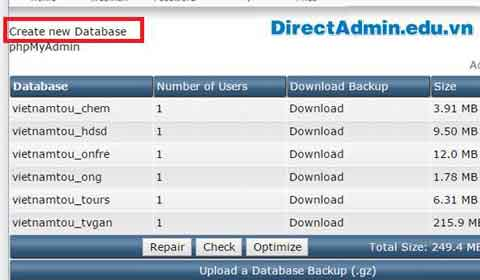 Hướng dẫn tạo database trong DirectAdmin (MySQL Management) MySQL Management, tạo database, creat database, Create new Database