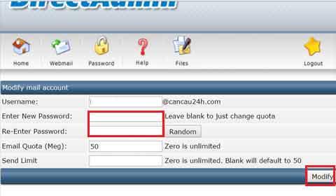 Modify mail account