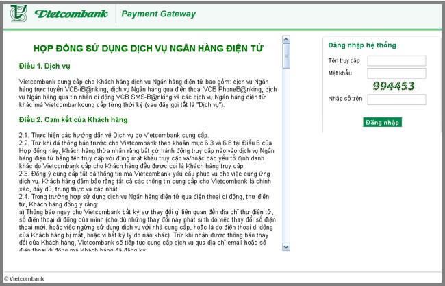 Hướng dẫn thanh toán qua Vietcombank