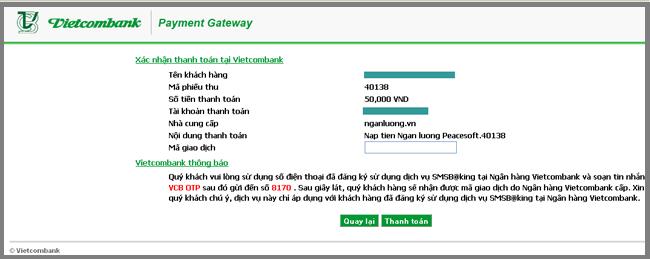 Hướng dẫn thanh toán qua VietcombankHướng dẫn thanh toán qua Vietcombank