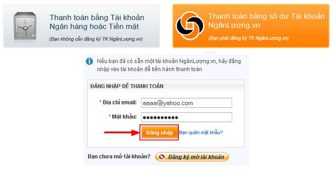 Hướng dẫn thanh toán bằng số dư tài khoản Ngân lượng