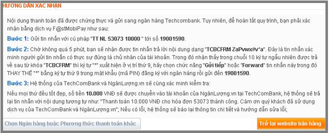 hướng dẫn thanh toán qua ngân hàng Teckcombank