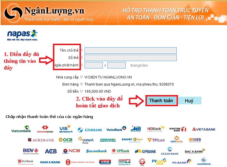 Hướng dẫn thanh toán ATM